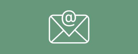 Icône d'un courriel sur un fond vert pastel