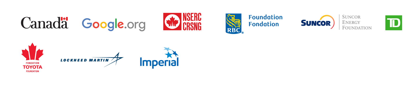 Logo of the Government of Canada, Google, NSERG, RBC Foundation, Suncor Energy Foundation, TD, Toyota, Lockneed Martin and Imperial