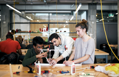 A group of students working on a project