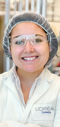 A girl wearing lab equipment