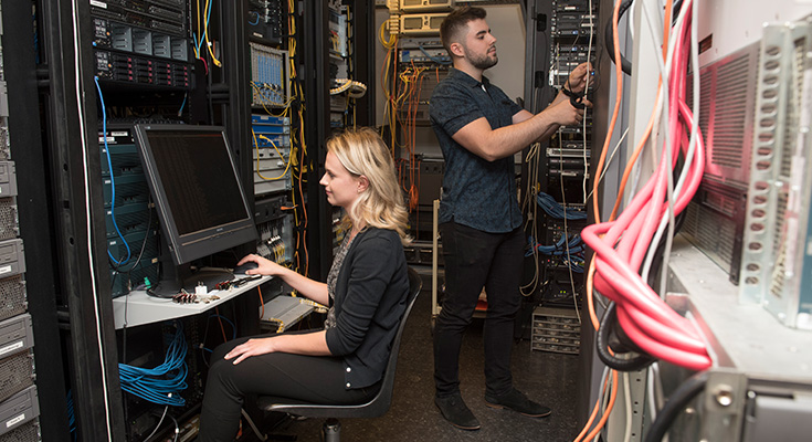 Students working with servers