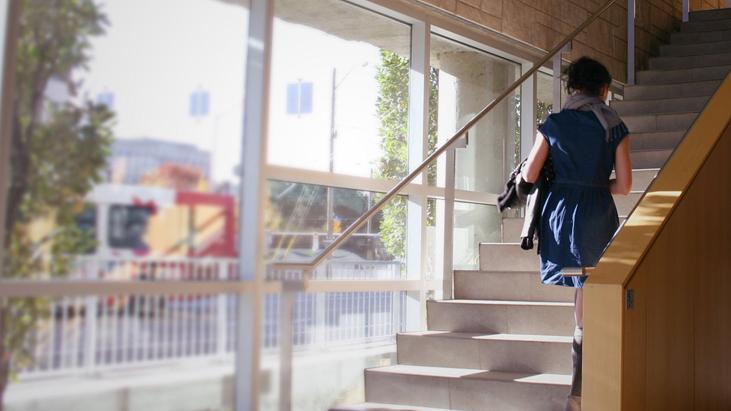 student climbing stair