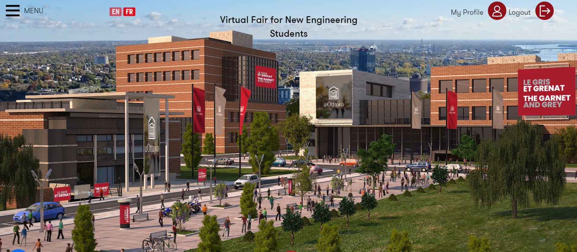Virtual view of uOttawa campus in the EasyVirtualFair platform