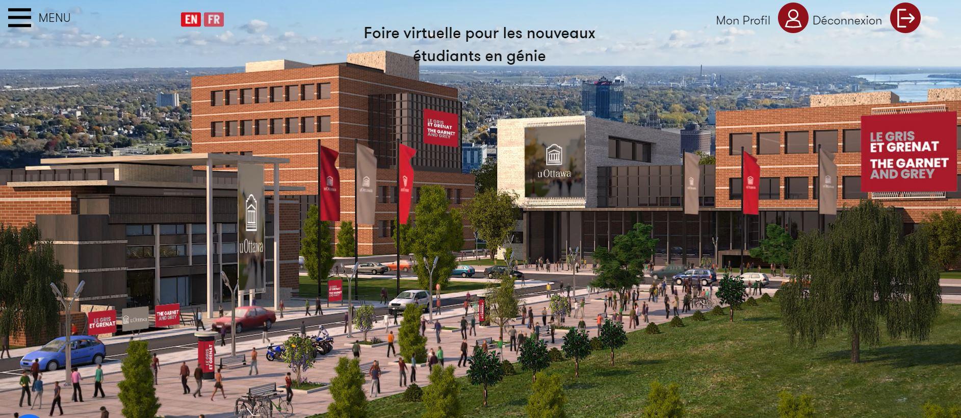 Vue virtuelle du campus de l'Université d'Ottawa dans la platforme EasyVirtualFair
