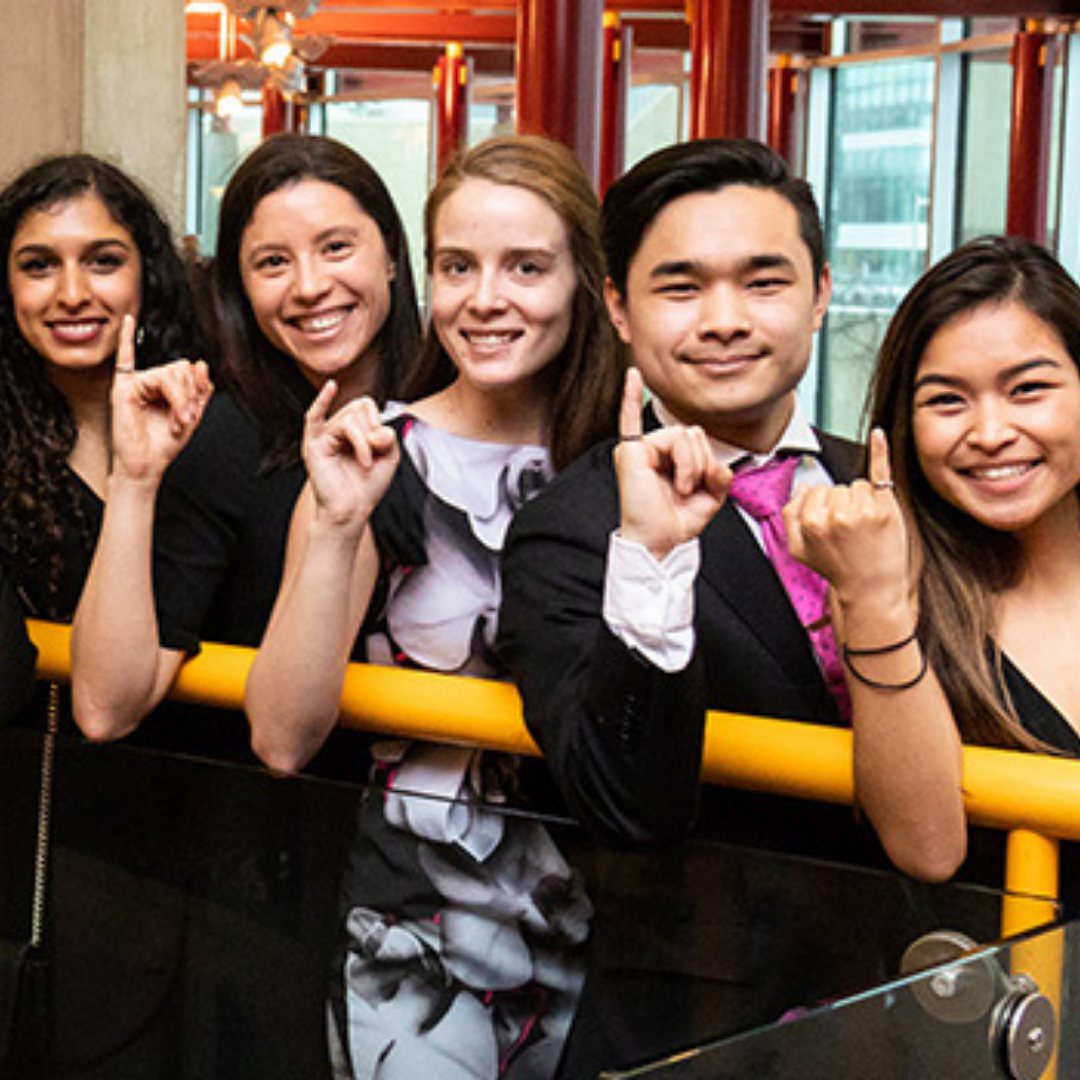 Students showing their iron ring