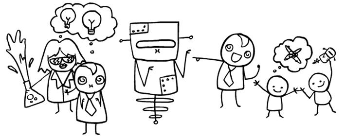 illustration des enfants et des robots