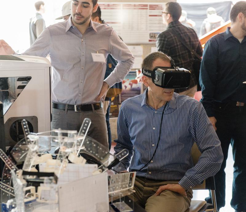 man trying Oculus rift