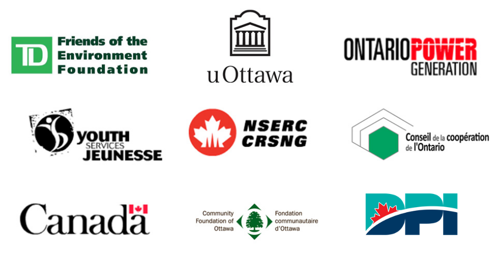 TD Friends of the Environment Foundation, uOttawa, Ontario Power Generation, Youth Services Jeunesse, NSERC-CRSNG, Conseil de la coopération de l'Ontario, Government of Canada, Community Foundation of Ottawa, DPI