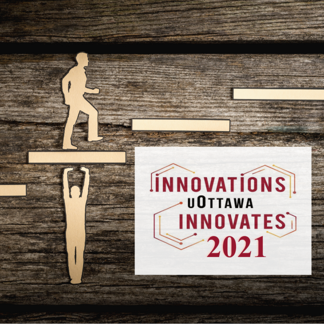 uOttawa innovates logo and picture of someone climbing steps