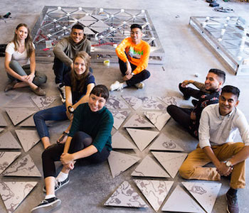 Engineering and Arts students collaborated to design interactive art installation in the new STEM Complex