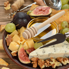 plate of cheeses
