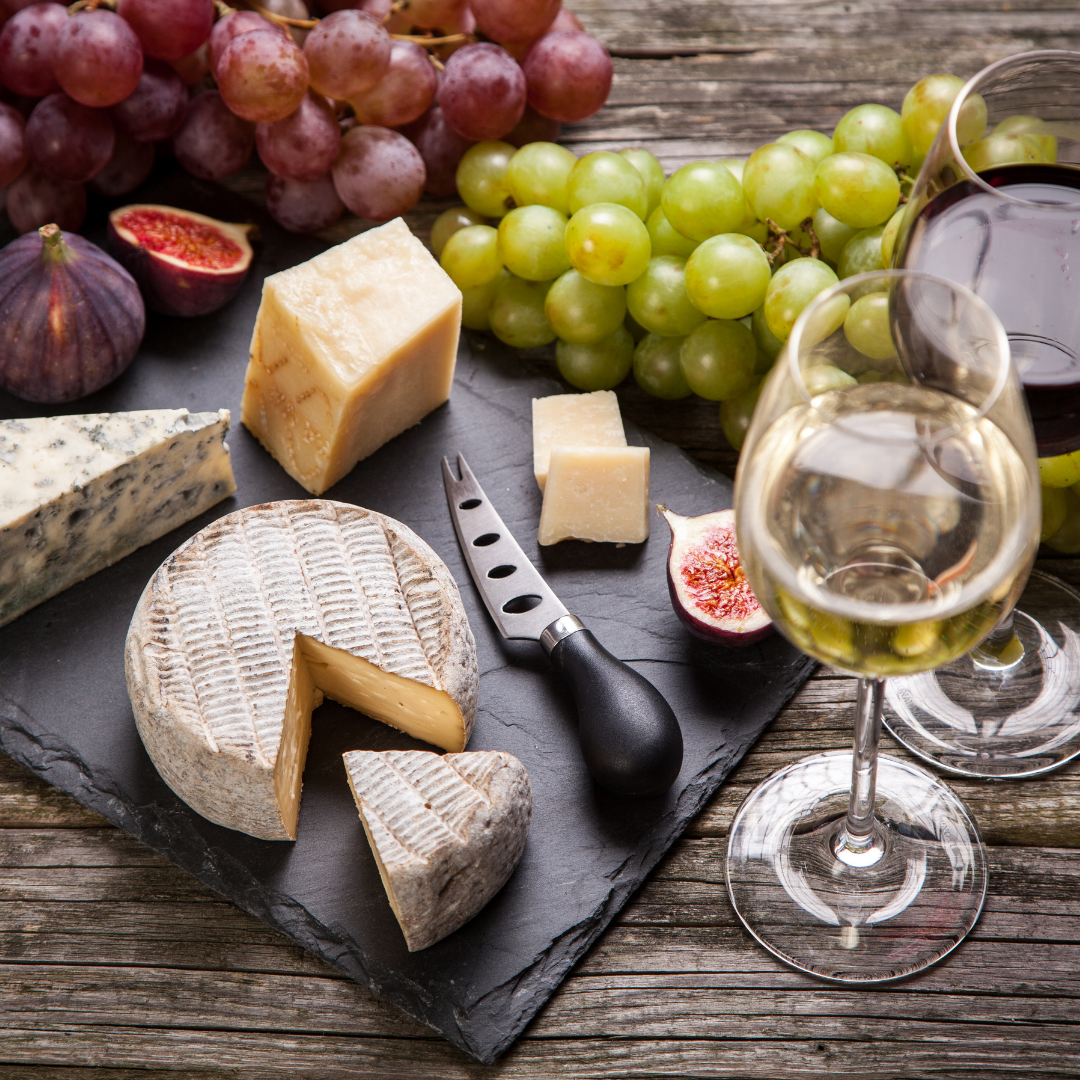 Wines and cheeses